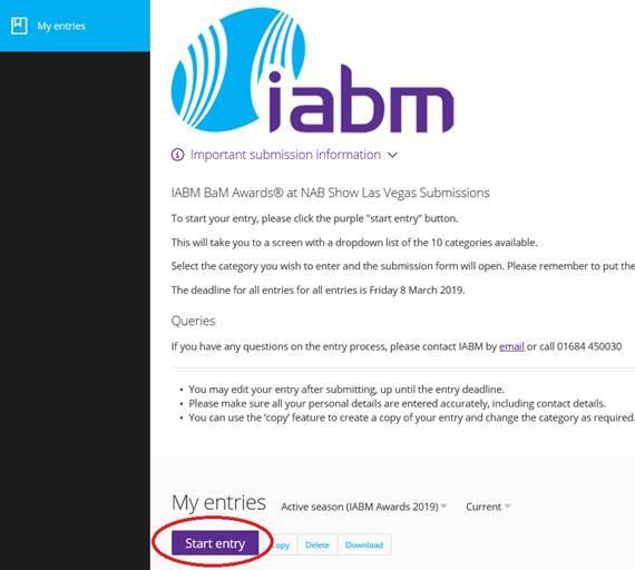 IABM BaM Awards Submission Process - Step 2
